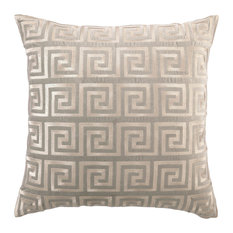 Greek Key Metallic Silver Embroidered, Gray