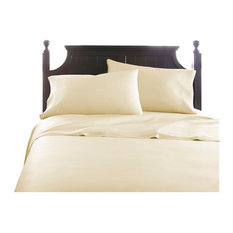 Home Collection Premium Bamboo 4-Piece Luxury Bed Sheet Set, Ivory, Queen