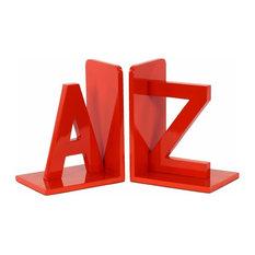 """Wood Alphabet Sculpture """"AZ"""" Bookend Assortment of- - Red"""