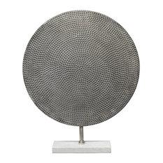 """Hammered Silver Metal 24"""" Disc Sculpture, Textured Industrial Art Modern Round"""