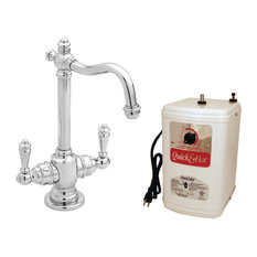 """Victorian 9"""" Hot And Cold Water Dispenser and Tank, Polished Chrome"""