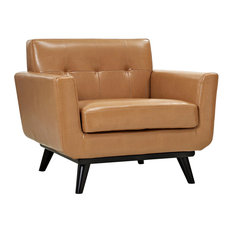 LexMod - Engage Bonded Leather Armchair, Tan - Armchairs and Accent Chairs