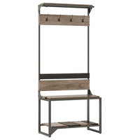 Refinery Hall Tree with Shoe Storage Bench in Rustic Gray - Engineered Wood