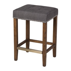 Ash Counter Stool Frost Gray And Stained Wood