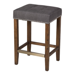 Ash Counter Stool, Frost Gray and Stained Wood