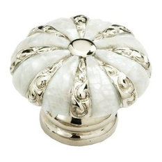 """Mother of Pearl 1-3/8"""" Diameter Mother of Pearl/Polished Nickel Cabinet Knob"""