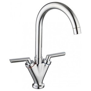 Swing Contemporary Dual Lever Kitchen Tap, Solid Brass With Swivel Spout, Chrome