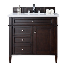 "Brittany 36"" Mahogany Single Vanity, Snow White Quartz Top"