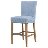 Milton Fabric Counter Stool with Natural Wood Legs, Blue Stripes