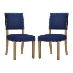 Modern Dining Side Chair, Set of 2, Velvet Fabric Wood, Navy Blue