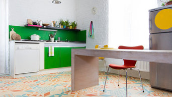 Eclectic vinyl cushion flooring in a vintage kitchen