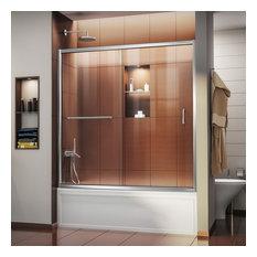 "Infinity-Z 56 to 60"" Frameless Sliding Tub Door, Clear 1/4"" Glass Door"