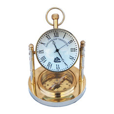 Handcrafted Nautical Decor Solid Br Clock With Comp 5 Desk And Mantel