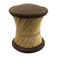 Natural Geo Moray Jute/Reed Decorative Cushioned Accent Stool