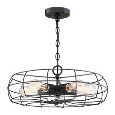 Kira Home Gage Industrial Fan Style Metal Cage Ceiling Light, Matte Black, 5-Lig