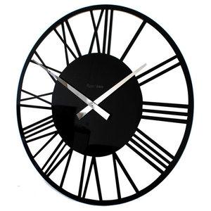 Roco Verre Acrylic Gloss Skeleton Roman Wall Clock, Black