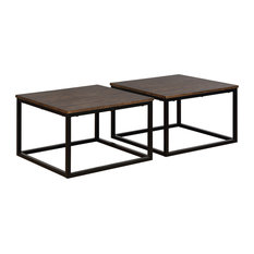 Arcadia Acacia Wood Set of 2 Square Coffee Tables