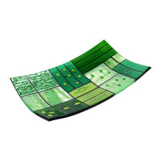 """Decorative Fused Glass Plate """"A Gentle Color Mix"""", Green"""
