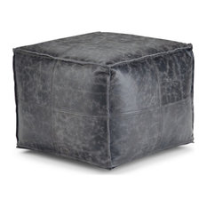 Tremblay Square Pouf, Black Distressed Leather