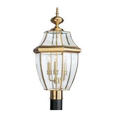 Sea Gull Lighting 3-Light Outdoor Post Lantern, Polished Brass