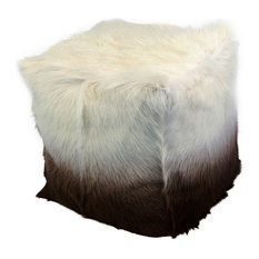"""Moes Home Collection XU-1010 16"""" Wide Goat Fur Pouf Ottoman, Cappuccino Ombre"""