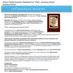 Smart Closet Solutions Press Release