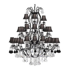 Wrought Iron and Crystal 37-Light Chandelier, With Black Shades