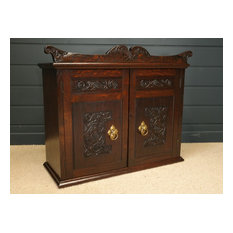 Attractive Late Victorian Carved Oak Cabinet possibly by Arthur Simpson of Kenda