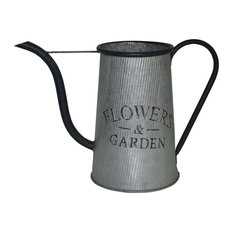 """Cheung's Decorative Metal Watering Can """"Flowers and Garden"""", Silver and Black"""