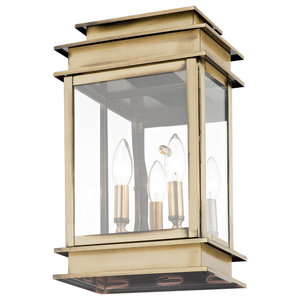 Princeton 2-Light Wall Lantern, Antique Brass