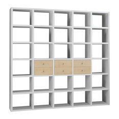 Torero White Bookcase/Room Divider With Drawers