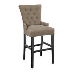 Hekman Furniture - Modern Hekman Woodmark Sonya Bar Stool With Dark Nickel Nailhead Trim - Bar Stools and Counter Stools