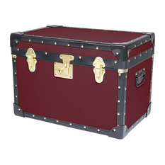 Contemporary Storage Trunk in Black Plastic and Burgundy Finished Wood with Lock