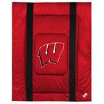 Sports Coverage - NCAA Wisconsin Badgers Queen Comforter Sidelines College Bed - Features: