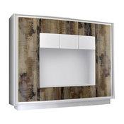 Amber V White and Natural Wood Wall Unit