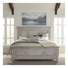 Liberty Furniture Heartland King Panel Bed in Antique White