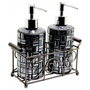 Mosaic Glass Soap Dispensers (Set of 2), Black