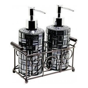 Mosaic Glass Soap Dispensers (Set of 2), Black