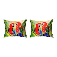 Pair of Betsy Drake Two Parrots No Cord Pillows 16 Inch X 20 Inch