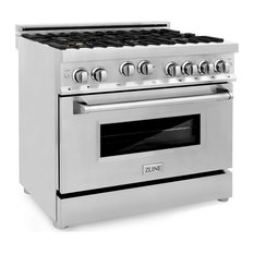 """ZLINE Professional Gas on Gas Range, Stainless Steel With Brass Burners, 36"""""""
