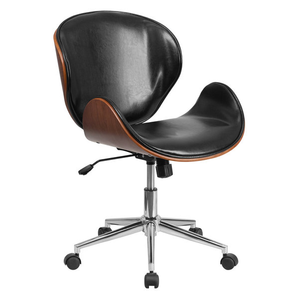 MFO Mid-Back Natural Wood Swivel Conference Chair in Black Leather