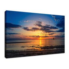 """Sunset at Breakwater Lighthouse"" Coastal Landscape Photo Fine Art Canvas Print"
