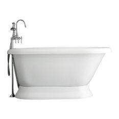 """Classic Pedestal Bathtub/Faucet Set, Chrome, 53"""""""