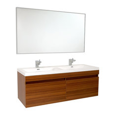 "Fresca Largo 57"" Teak Modern Bathroom Vanity, Wavy Double Sinks"