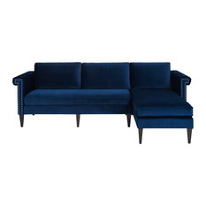 Nathaniel Traditional Style Navy Blue Finish Reversible Chaise Sectional