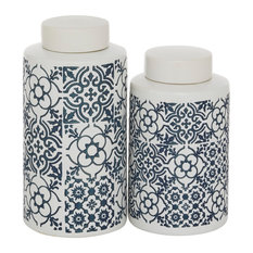"Set of 2 Multi Colored Ceramic Country Cottage Decorative Jar, 9.5"", 11"""