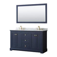 Avery 60-inch Dark Blue Double Vanity Carrara Marble Top Oval Sinks 58-inch Mirror