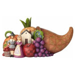 Enesco - Jim Shore Heartwood Creek Pilgrim Scene in Cornucopia Figurine - This delightful Cornucopia design features a colorful Pilgrim pair surrounded by the bounty of the season. Handcrafted in intricate detail, this holiday centerpiece combines the folk art style and attention to detail that is unmistakably Jim Shore.
