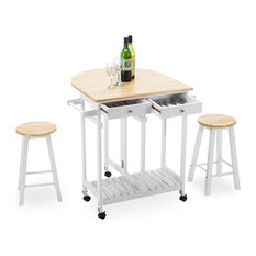 Kitchen Trolley Cart Dining Island with Stools