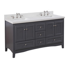 "Abbey 60"" Bath Vanity, Base: Charcoal Gray, Top: Quartz, Double Vanity"